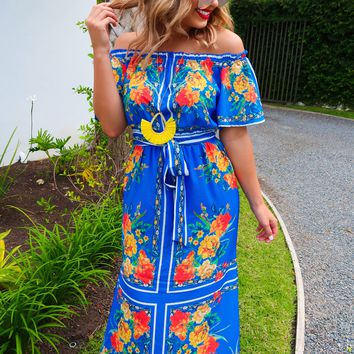 Delightful In Floral Maxi: Multi