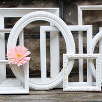 Vintage Shabby Chic  Frames , Wall Gallery Collection of 10 , Chippy White for Paris Apartment Decor & Wedding Decoration