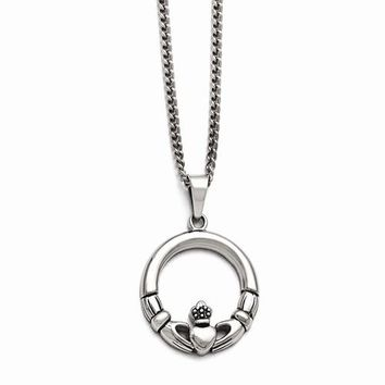 Stainless Steel Claddagh Pendant On Necklace