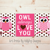 Owl Always Love You Pink Brown Nursery Art Prints Nursery Trio Print Set Modern Baby Girl Nursery Decor Polka Dot Toddler Girl Decor #0909