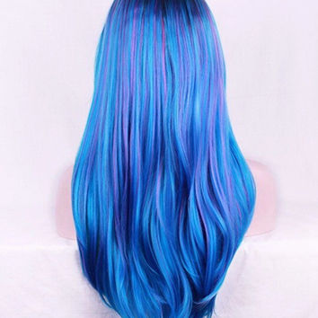 Custom Ombre Blue Multicolor Rainbow Highlighted Long Straight High Quality Heat Resistant Synthetic Lace Front Glue-Less Wig
