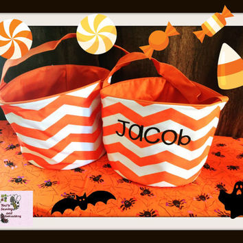 ORANGE Chevron  personalized embroidered Basket , Chevron Bucket , Halloween Trick or Treat Bucket