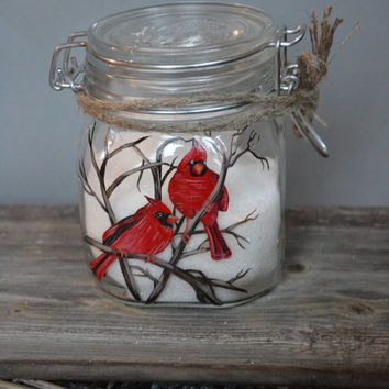 Hand Painted Storage Glass Jar wedding favor gift for lovers in wedding or anniversary Red cardinals Couple