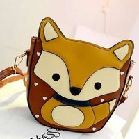 Faux Leather Fox-Accent Crossbody Bag