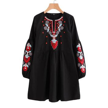 Buttoned Keyhole Front Lantern Sleeve Embroidered Smock Dress Autumn