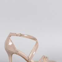 Bamboo Patent Strappy Crisscross Open Toe Heel