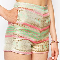Daisy Street Shorts In Multi Jaquard