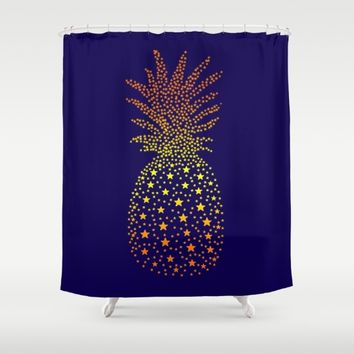 Golden Pineapple Stars Shower Curtain by ES Creative Designs