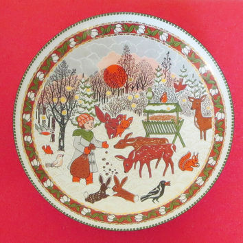 Enamelware Snowy Day Bowl, Vintage Email Studio Steinböck, Handmade in Austria, Highly Collectible!