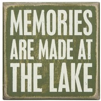 Primitives by Kathy Wood Box Sign, 4-Inch by 4-Inch, At The Lake