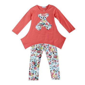 Choice of Girls Floral Bear Shirt and Pants Sets