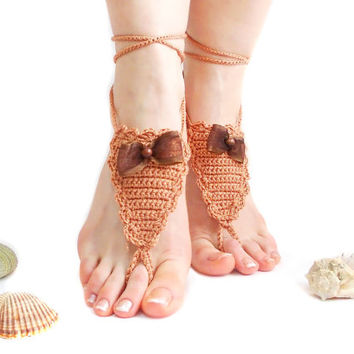 Brown Crochet Barefoot sandals, Footless Sandals, Barefoot Sandles, Boho, Crochet Anklet, Nude shoes, Yoga, Victorian Lace, Foot Accessory