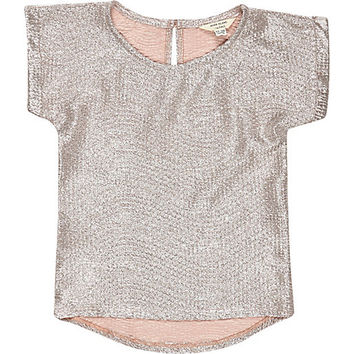 River Island Mini girls pink rose gold metallic t-shirt