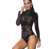 Mapalé by Espiral Women's Fitted Sleeve Mesh Banded Bodysuit