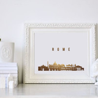 Rome Print, Rome Skyline, Rome Cityscape, Skyline Art, Real Gold Foil Print, Wall art, Home Decor, Italy Print, Italy Wall Art, Rome City.