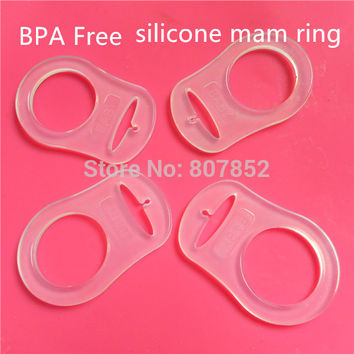 30pcs Clear food grade BPA Free silicone baby pacifier adapter rings dummy mam rings for NUK
