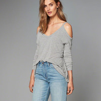 Ribbed Cold Shoulder Top