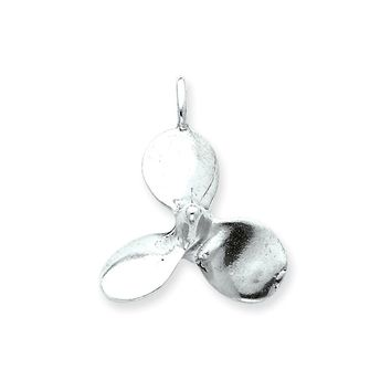 Sterling Silver 3D Antiqued Large Boat Propeller Charm