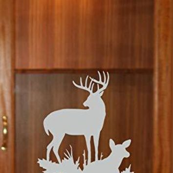 Doe Buck Flield Hunting Gun Cabinet Etched Glass Decal Vinyl Sticker