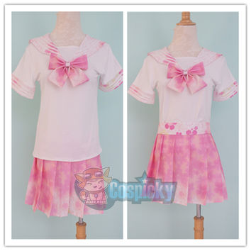 J-Fashion Pink Sakura Sailor Seifuku Top and Skirt Set CP152053
