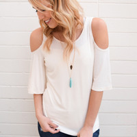 Cascades Open Shoulder Top Cream