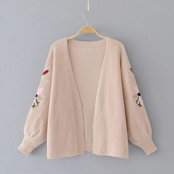 Women Long Lateran Sleeve Floral Embroidery Open Stitch Teenager Sweet Preppy Style Loose Knit Outwear Casual Sweater Cardigans