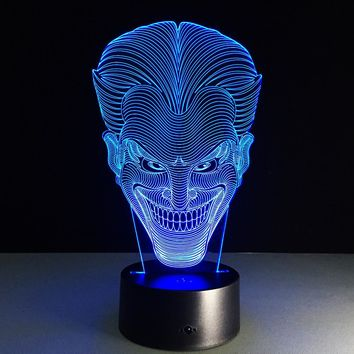 3D LED Joker Face With 7 Different Changeable Colors