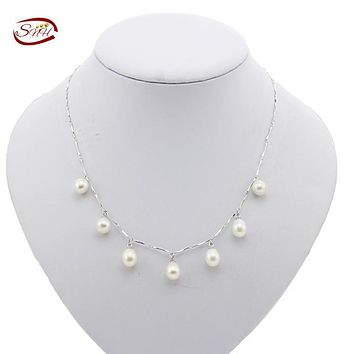 SNH 7-8mm drop AAA geniune Freshwater Pearl NecklaceReal Pearl Necklace with china Sterling Silver Clasp