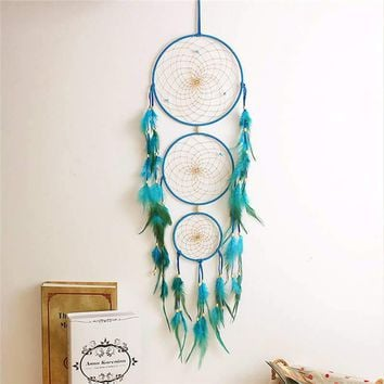 Fresh Green Blue Feather Dream Catchers Wind Chimes Ornament For Home Room Car Decor Hanging Decoration Crafts Gift