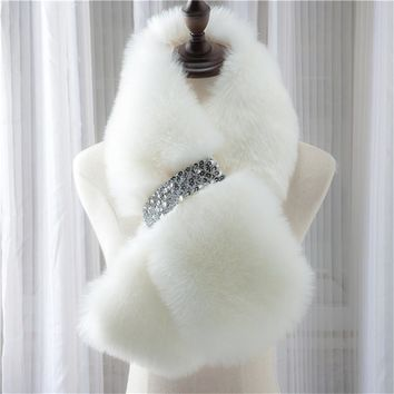 [SUMEIKE] Winter Warm Scarf Faux Fur Collar Women Solid Color/Fashion Style/About95*15cm/7 Colors