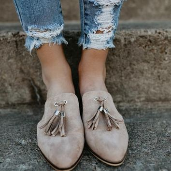 Casual Shoes Pointed Toe Slip on Side Cut Out Tassel Loafer