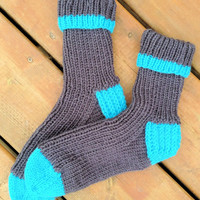 Knitted Socks ( Warm adult handmade knitted socks - Adult size 9-10 )