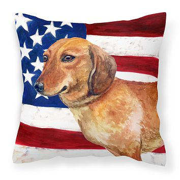 Dachshund Patriotic Fabric Decorative Pillow BB9652PW1818