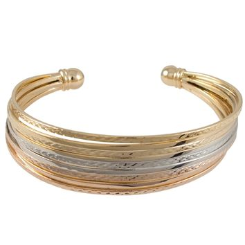 Tri-tone Gold 9-row Layered Hammered Cuff Bangle Bracelet | Overstock.com Shopping - The Best Deals on Fashion Bracelets