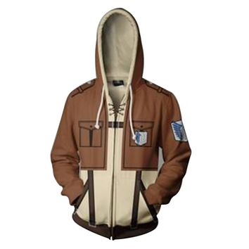 Cool Attack on Titan Anime  Hoodie Levi Mikasa Eren Cosplay Adult Men Women Hoodies Sweatshirts Spring Jacket Coat AT_90_11