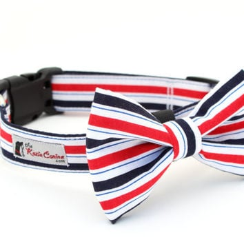 Red White Blue Striped Dog Collar - Patriotic Stripes (Matching Bow Tie Available Separately for Wedding & Special Occasion)