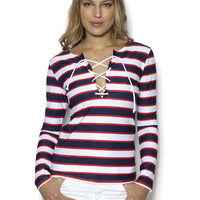 Glamourpuss NYC   Lace Up Front Top Double Stripe Navy/Red