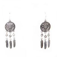Wonderful Life Feather Fringe Earrings In Silver