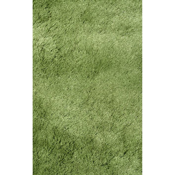 LA Rugs Silky Shag Collection Green Area Rug