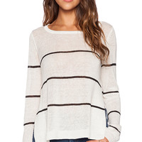 Kingsley Striped Linen Sweater in White