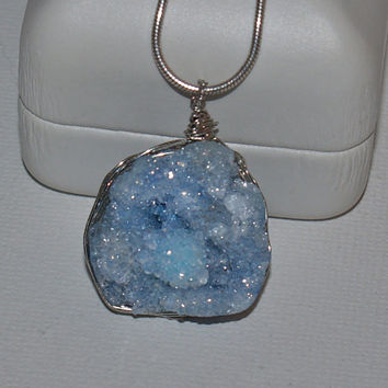 Sparking light blue, wire wrapped, genuine druzy pendant - the perfect gift for the person who has everything