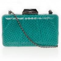 Boutique 1 - KOTUR - Green Espey Snakeskin Clutch | Boutique1.com
