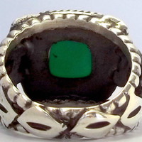 925 Sterling Silver Men's Ring with Totally Handmade Absolutely Unique Real Emerald
