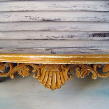 Yellow Painted Vintage HOMCO Wall Shelf, Mustard Yellow Distressed Decorative Wall Shelf, Shabby Chic, Cottage Chic, Up Cycled Retro Shelf