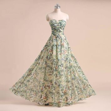 Sample A line Floral Printed Party dresses Sweetheart Floor length long Prom gown elegant evening dress long