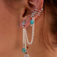 EAR CUFF to stud - sweeping chain with Swarovski crystals and charm