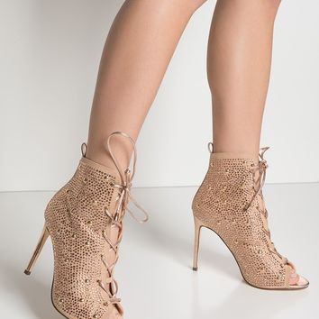 Lace Up Stiletto Rhinestone Studded Open Booties in Rose Gold