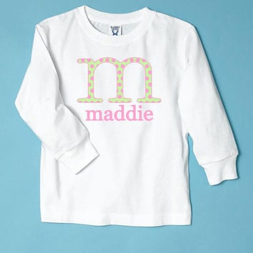 Green/Pink Initial Name Personalized Long Sleeve T-Shirt