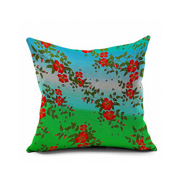 Cotton Flax Pillow Cushion Cover Flower   HD060