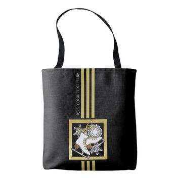 Ice Skating Black Gold Modern Chic Personalized Tote Bag